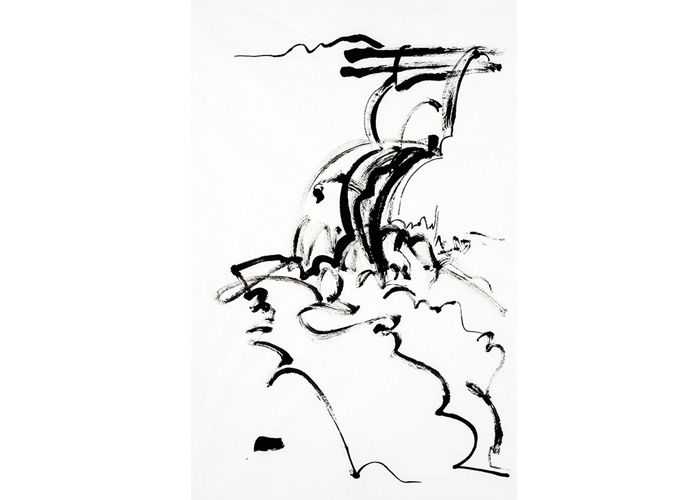 Cascade no 2 by Meighan Jackson, abstracted drawing in sumi-e ink of a waterfall on paper.