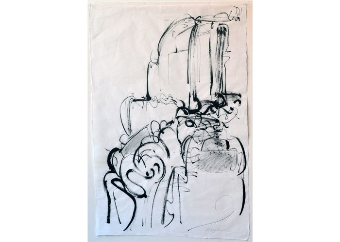 Cascade no 1 by Meighan Jackson, abstracted sumi-e drawing on paper.