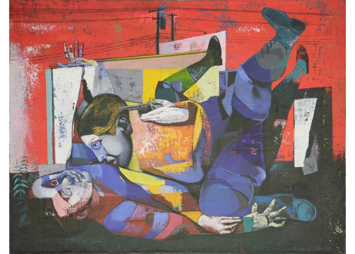 Richard Wilt | Two Boys Fighting, Gun, Red Background