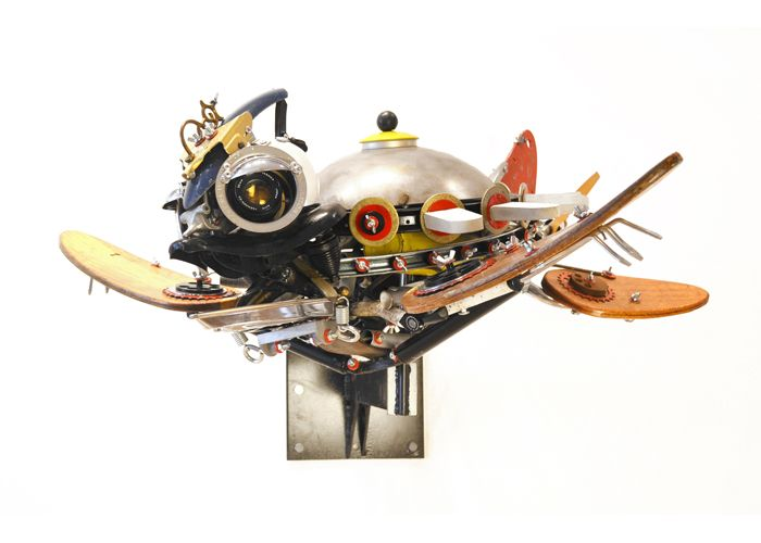 Sonic is a found object assemblage sculpture by John Schwarz.