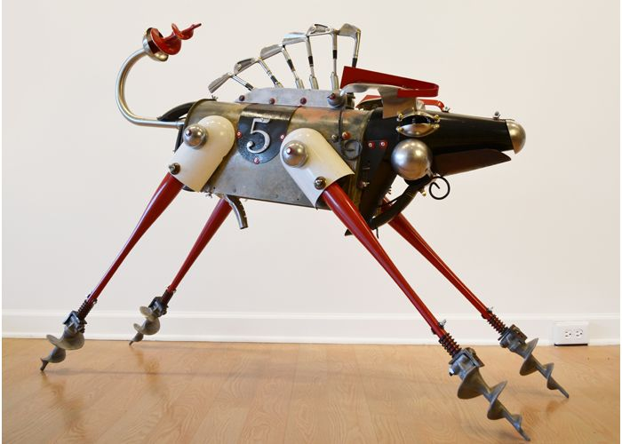 Reno by artist John Schwarz, found object assemblage of 4 legged animal