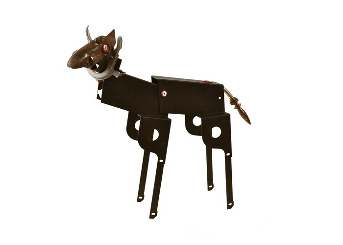 Mabel by artist John Schwarz, found object assemblage of deer or dog