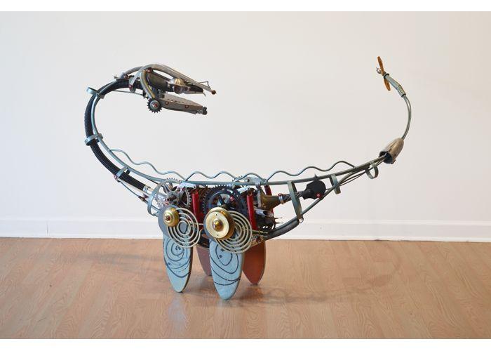 Flipper by artist John Schwarz, found object assemblage of prehistoric loch ness style creature.