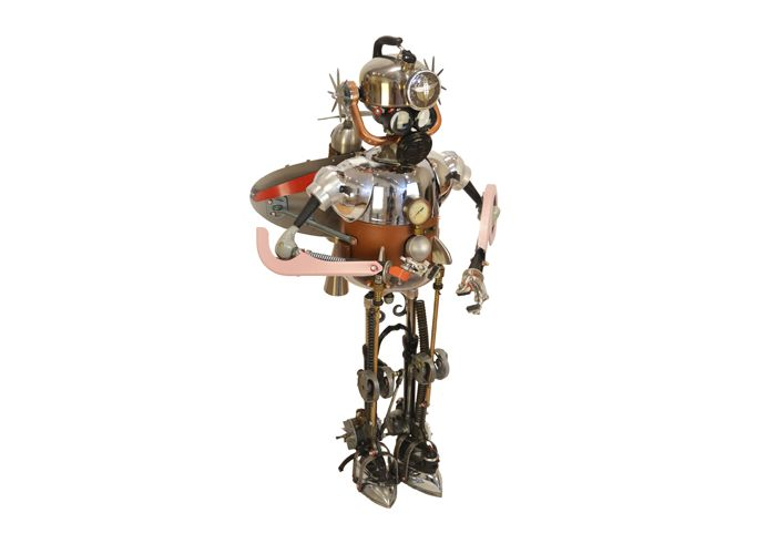 Iron Man by artist John Schwarz, found object assemblage of humanoid robot