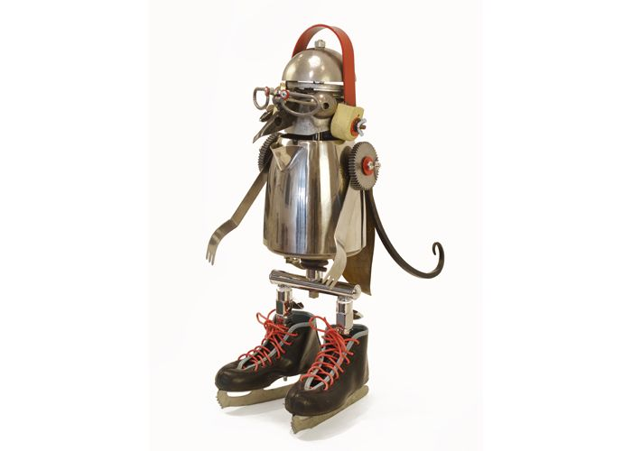 Murray by John Schwarz, found object assemblage of a penguin wearing child's ice skates.
