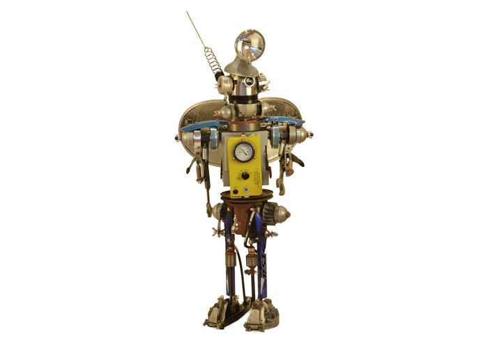 Sputnik by John Schwarz, a found object assemblage of a space age robot made out of various gauges, coils, et al