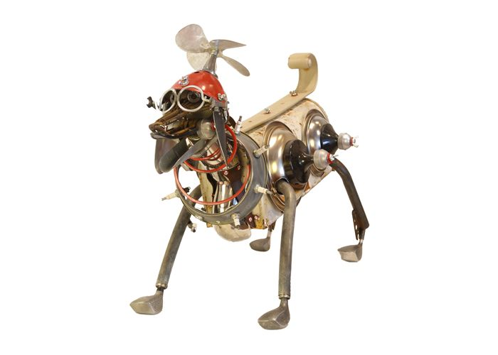 Sparkie by John Schwarz, a found object assemblage depicting a beagle wearing a helicopter beanie.