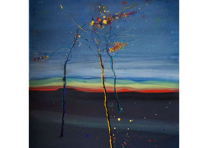"Lesa Chittenden Lim | Night Lights | Watercolor & pastel | 26"" x 26"""
