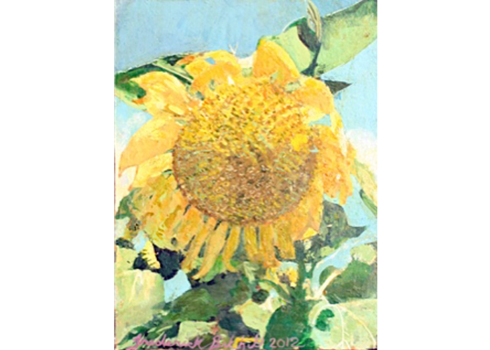 "Frederick Birkhill - Sunflower 3 | Egg Tempura | 14"" x 12"" 