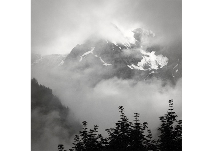 "Martha Ceccio - Courmayeur, Italy | Photograph | 30.5"" x 30.5""""On a day off, I took my camera to the small Italian mountain town of Courmayeur, and was able to capture this image.  Clouds were forming and shifting on the peaks in the distance.  And trees were silhouetted against the light, with branches extending upward."""