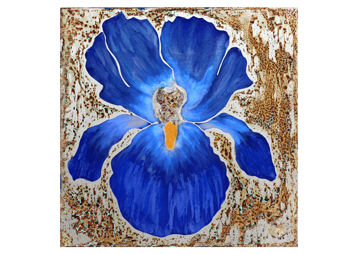 "Maureen Kirwin Huffman - Blue Iris | Stainless Steel | 12"" x 12"" 