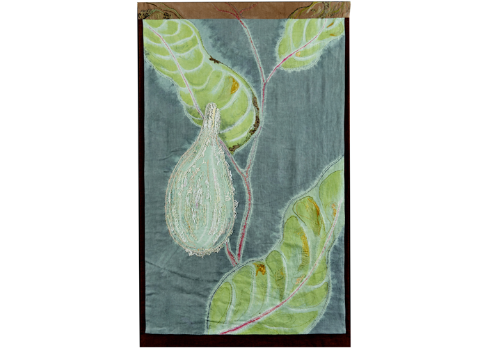 "Sue Moran - Milkweed September | Shibori, Collage, Stitching | 66"" x 40"" 
