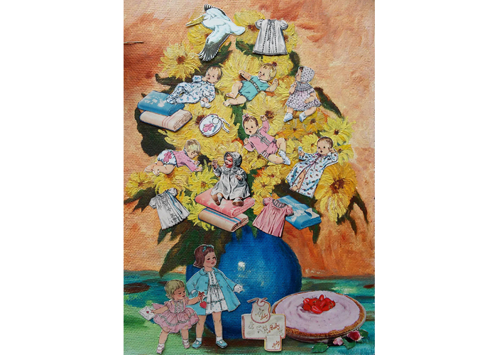"Teresa Petersen - Bouquet with Babies | Collage on Found Painting, 2014 | 10"" x 14"" 
