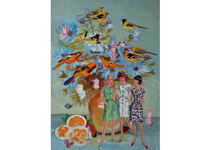 "Teresa Petersen - Floral Arrangement with Orioles | Collage on Found Painting, 2014 | 10"" x 14"" 