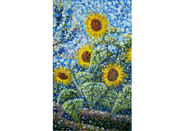 "Jim Rehlin - Sunflowers I | Acrylic on Canvas | 34"" x 20"" 