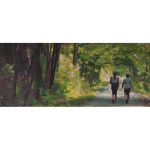 "Leslie Sobel - Summer Woods | Encaustic and Mixed Media on Panel | 11.5"" x 40"" 