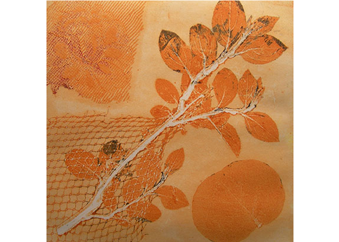 "Tricia Soderberg - Orange Still Life #2 | Monotype Print | 19"" x 19"" 