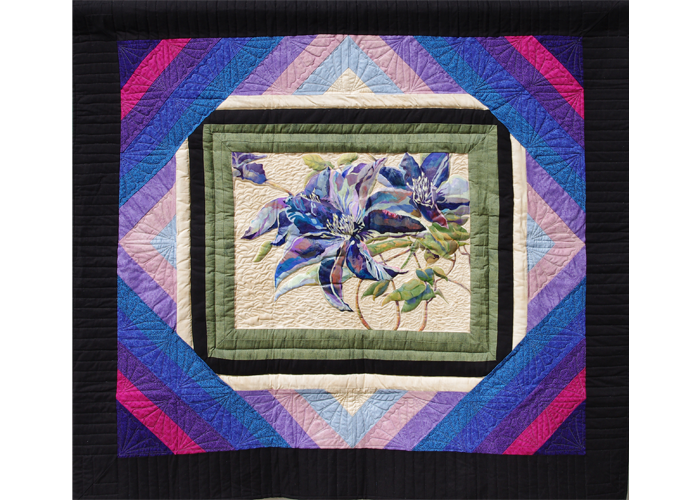 "Mary Tallman and Sharron VanCampen - Purple Clematis | Acrylic on Quilted Fabric | 56"" x 50"" 