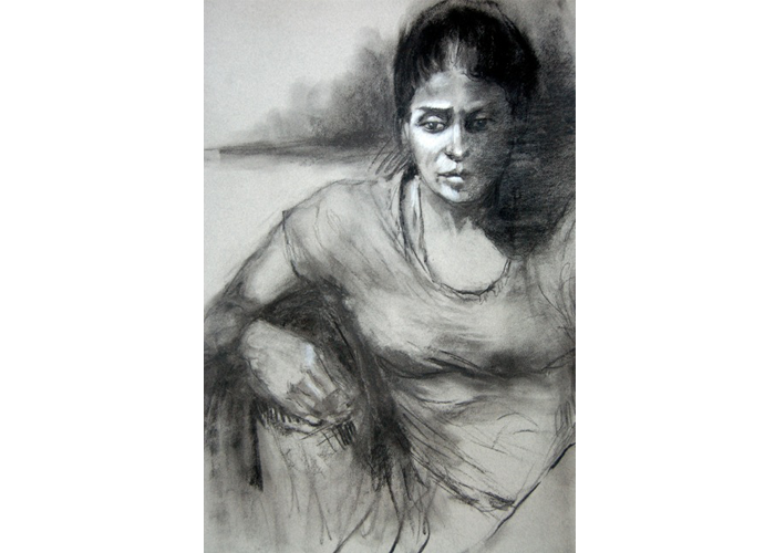 "Barbara Eko Murphy - Thinking Out Loud | charcoal on mi-teintes drawing paper | 24"" x 32"" 