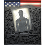 "Edward Stopke - America's Gun-Death Culture—30,000 Gun Deaths/Year | oil painting on wood panel with wood cut-out shapes | 41"" x 49"" 