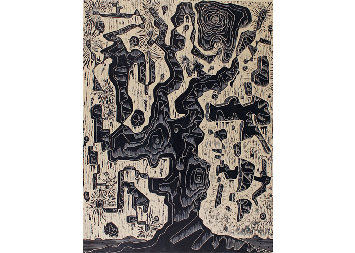 "Joshua Kochis - Tree of Life, 2014 | woodcut print on japanese okawara | 32"" x 42"" 