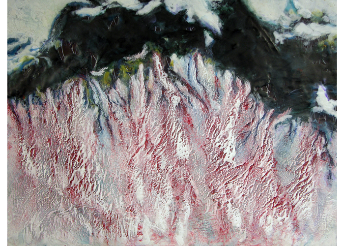 "Leslie Sobel - Bleeding Fjord | encaustic | 18"" x 24"" 