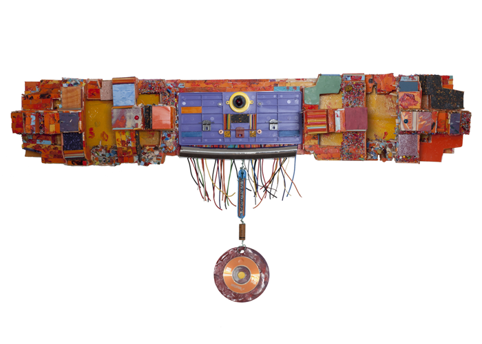 "Nanci Le Bret Einstein - She Deserved A Medal | wall-mounted sculpture, mixed media | 38"" x 19.5"" x 7.5"" 