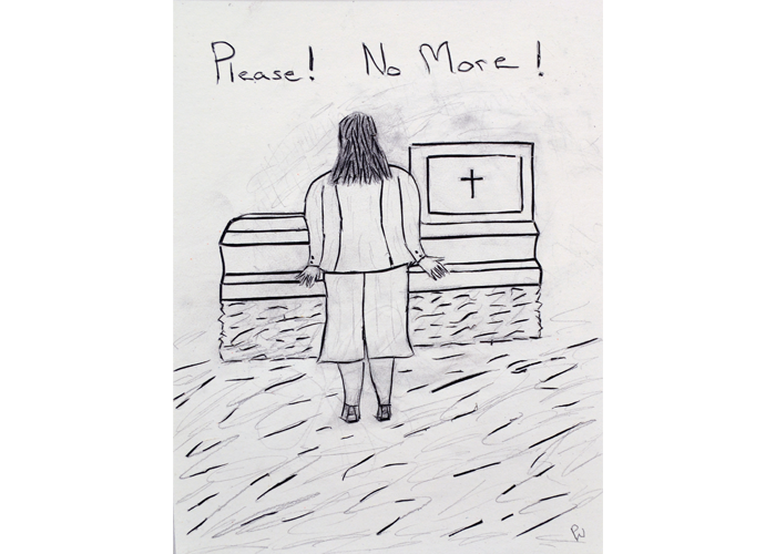 "Peter Warburton - Please! No More! | duct tape and pencil on illustration board | 10.5"" x 13.25"" 